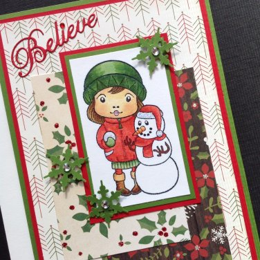 Christmas Card  | Girl with Snowman | Paper Therapy