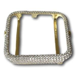 Apple Watch Bezel Case Mens Ladies 14K Yellow Gold Plated Lab Diamonds 38mm 42mm