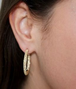 Medium Yellow Gold Fiesta Earrings/Hoops White Swarovski Elements Oliver Weber