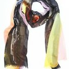 Shawlux Paris Arc De Triomphe Sunset Print Scarf Wrap Shawl Yellow Orange Grey