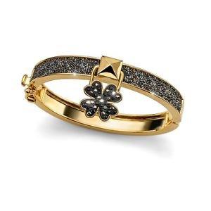 Lucky Clover Metallic Gold Black Bangle Bracelet Swarovski Elements Oliver Weber