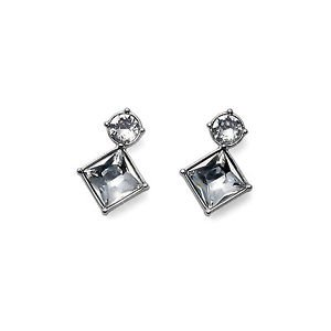 Graceful Stud Earrings Square & Round Clear Swarovski Crystals Oliver Weber