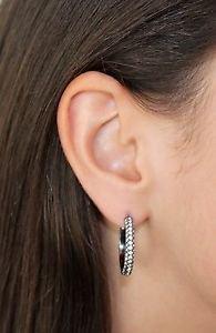 Brill Black Hoops Earrings White Clear Swarovski Crystals Oliver Weber 22329RU