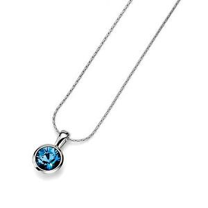 Silver Chain Necklace Blue Denim Swarovski Crystal Bezel Pendant Oliver Weber