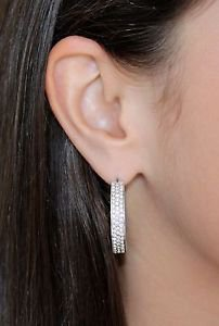 Silver Hoop Pierced Earrings Clear White Swarovski Crystals Oliver Weber 9697R