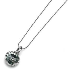 Fun Silver Chain Necklace Jet Black Swarovski Crystal Bezel Pendant Oliver Weber