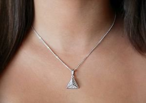 Silver Pyramid Pendant ChainNecklace Swarovski Clear Elements Equal Oliver Weber