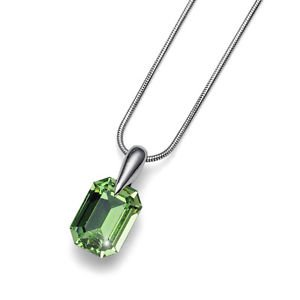Peridot Green Crystal Swarovski Elements Pendant Silver Chain Oliver Weber Club