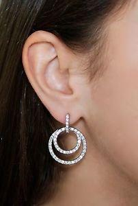Silver Orbit Pierced Round Earrings White Clear Swarovski Crystals Oliver Weber