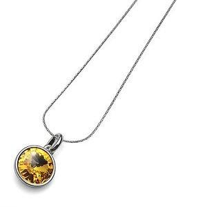 Fun Silver Chain Necklace Yellow Sunflower Swarovski Crystal Bezel Oliver Weber