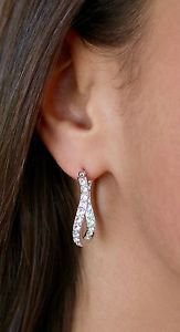 White Clear Swarovski Crystals Silver Wave Hoop Earrings Oliver Weber 22085