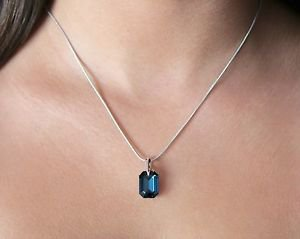 Club Montana Blue Swarovski Elements Pendant Silver Chain Necklace Oliver Weber