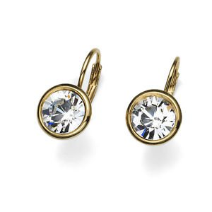 Fun Simple 18K Gold Plated Bezel  Clear Swarovski Crystals Earrings Oliver Weber