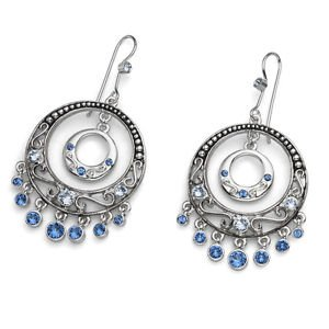 Blue Swarovski Crystals Bohemian Drop Dangle Silver Earrings Oliver Weber 22419