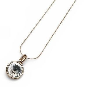 18K Yellow Gold Plated Necklace Clear Swarovski Crystal Bezel Oliver Weber