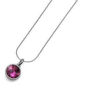 Silver Chain Necklace Fuchsia Swarovski Crystal Bezel Pendant Oliver Weber Fun