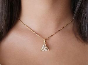 Yellow Gold Pyramid Pendant Chain Necklace Swarovski Elements Oliver Weber Equal