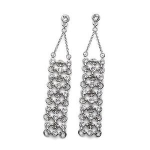 Hollywood Silver Drop Dangle Earrings White Swarovski Crystals Oliver Weber 9896