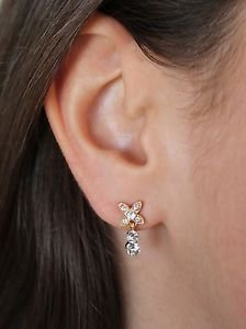 Yellow Gold Flower Clear White Swarovski Elements Stud Earrings Oliver Weber