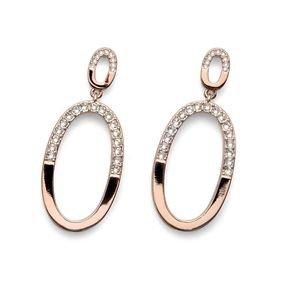 Oval Rose Gold White Clear Swarovski Crystals Dangle Earrings Oliver Weber DEMI