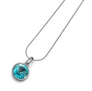 Silver Chain Necklace Turquoise Swarovski Crystal Bezel Pendant Fun Oliver Weber