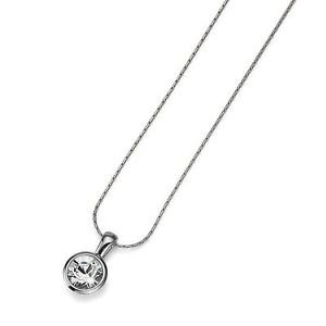 Silver Choker Necklace Clear Swarovski Crystal Bezel Pendant Simple Oliver Weber