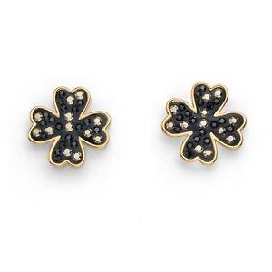 Silver & Black Lucky Clover Swarovski Elements Post Earrings Oliver Weber 22414R