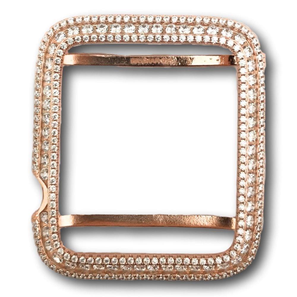 Series 2 Bling Apple Watch Bezel Rose Gold Plated Lab Diamonds 42mm 38 mm