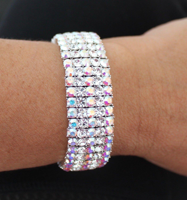 Luz Silver Bangle Bracelet Rhinestones Swarovski Elements Oliver Weber