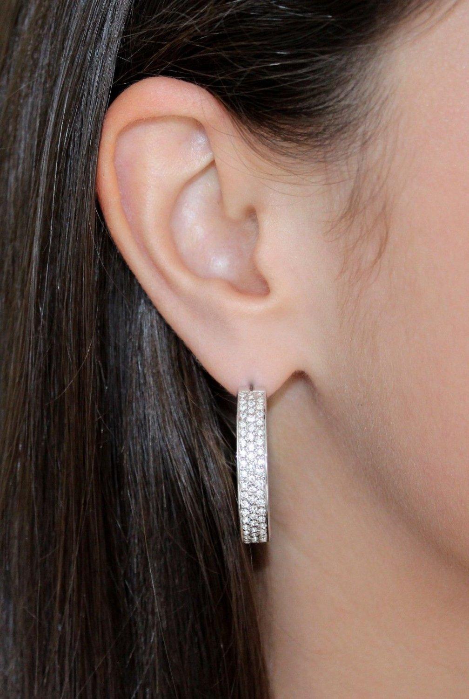Silver Hoop Pierced Earrings Clear White Swarovski Elements Oliver Weber