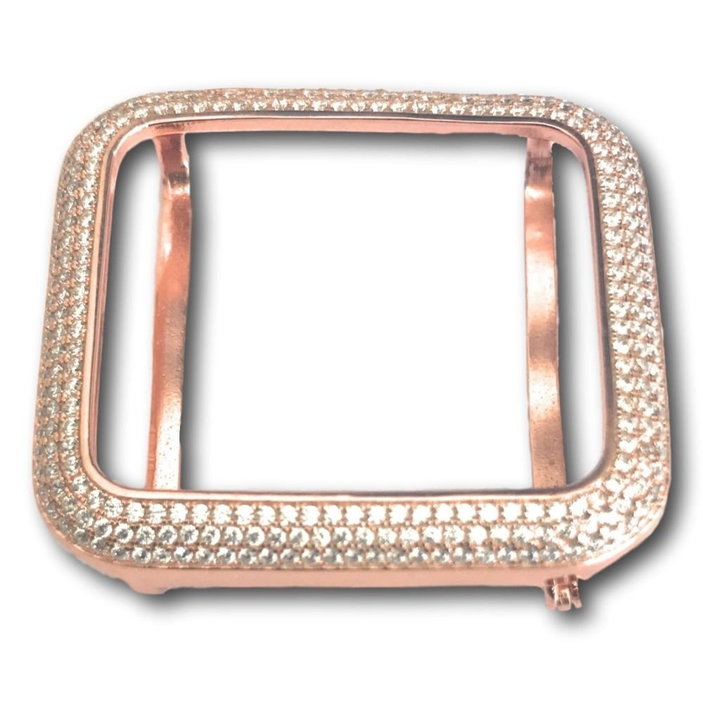 Series 2 Apple Watch Bezel Case Insert 14K Rose Gold Plated Lab Diamonds 38mm