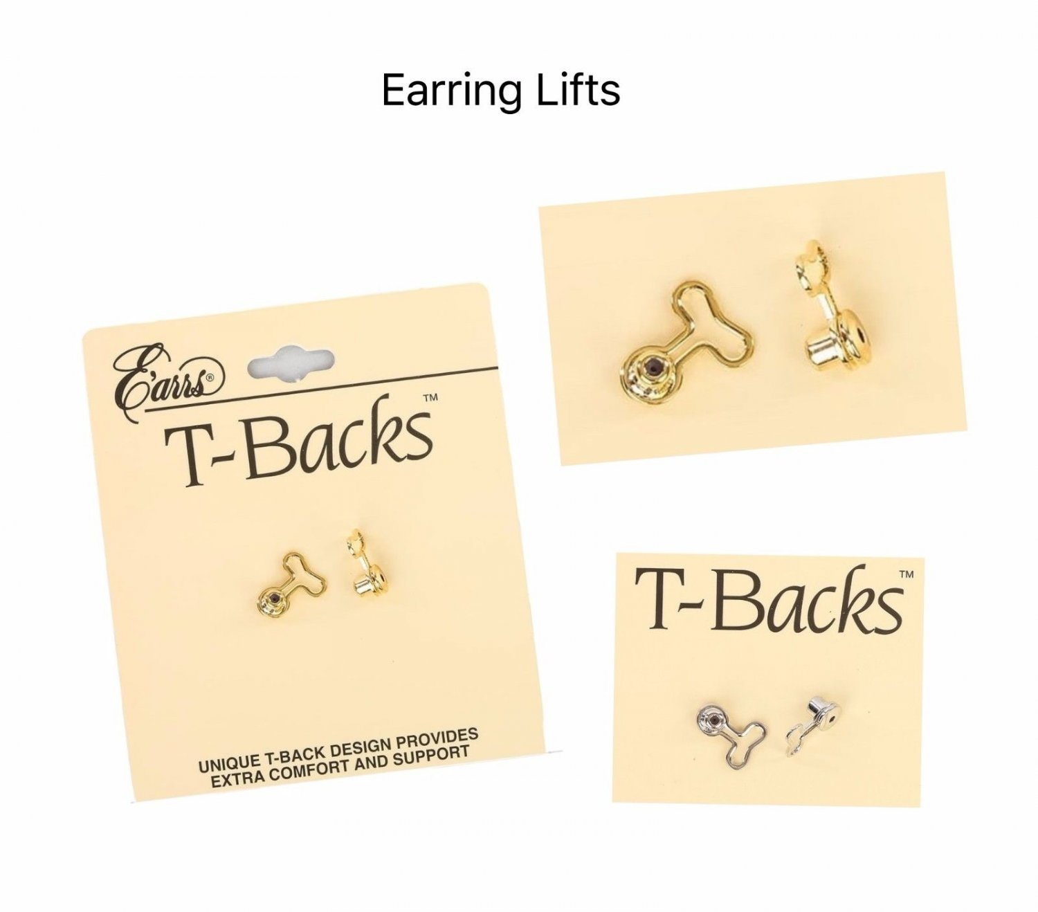 2 Pair Gold & Silver T Backs Post Stud Earring Lifts Support Replacement Backs
