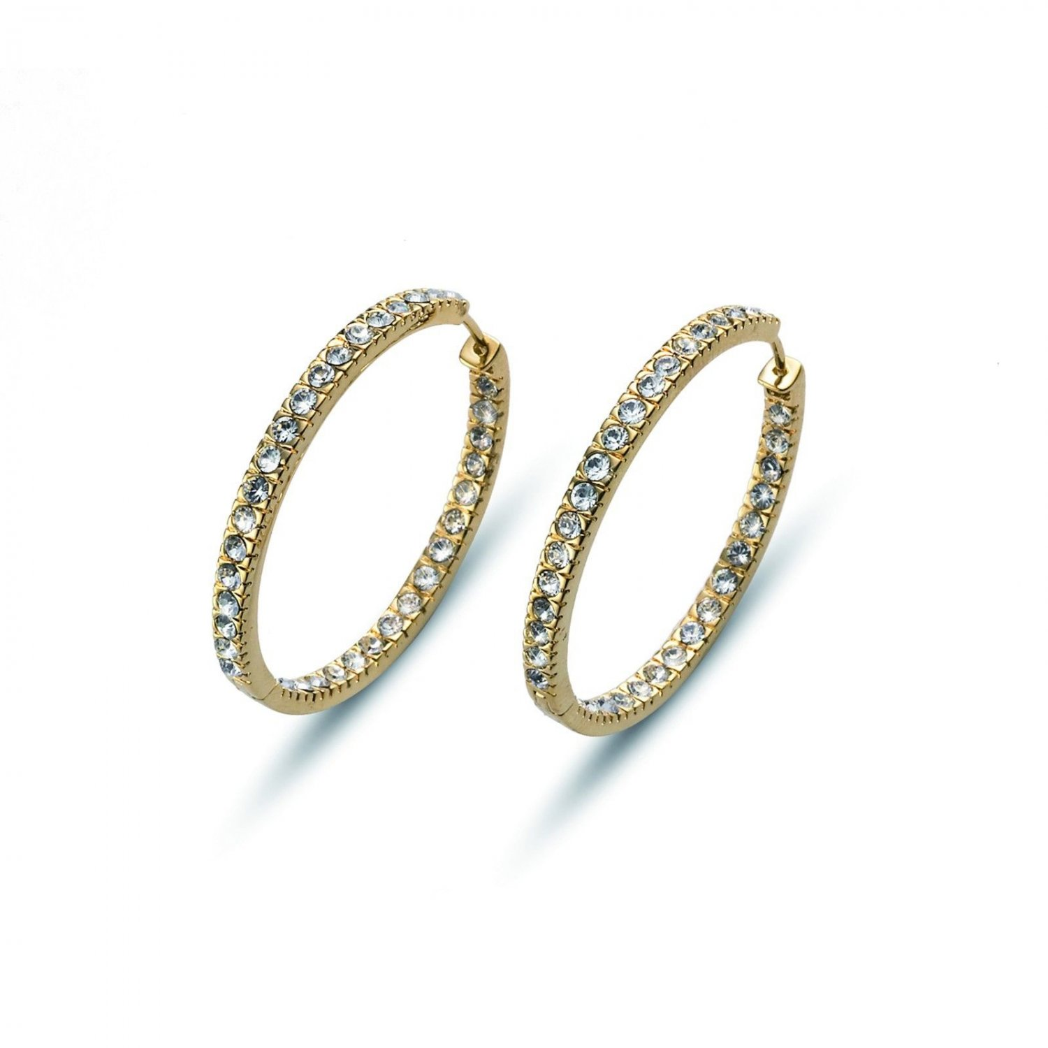 XL Hoop Yellow Gold White Clear Swarovski Elements Earrings Oliver Weber