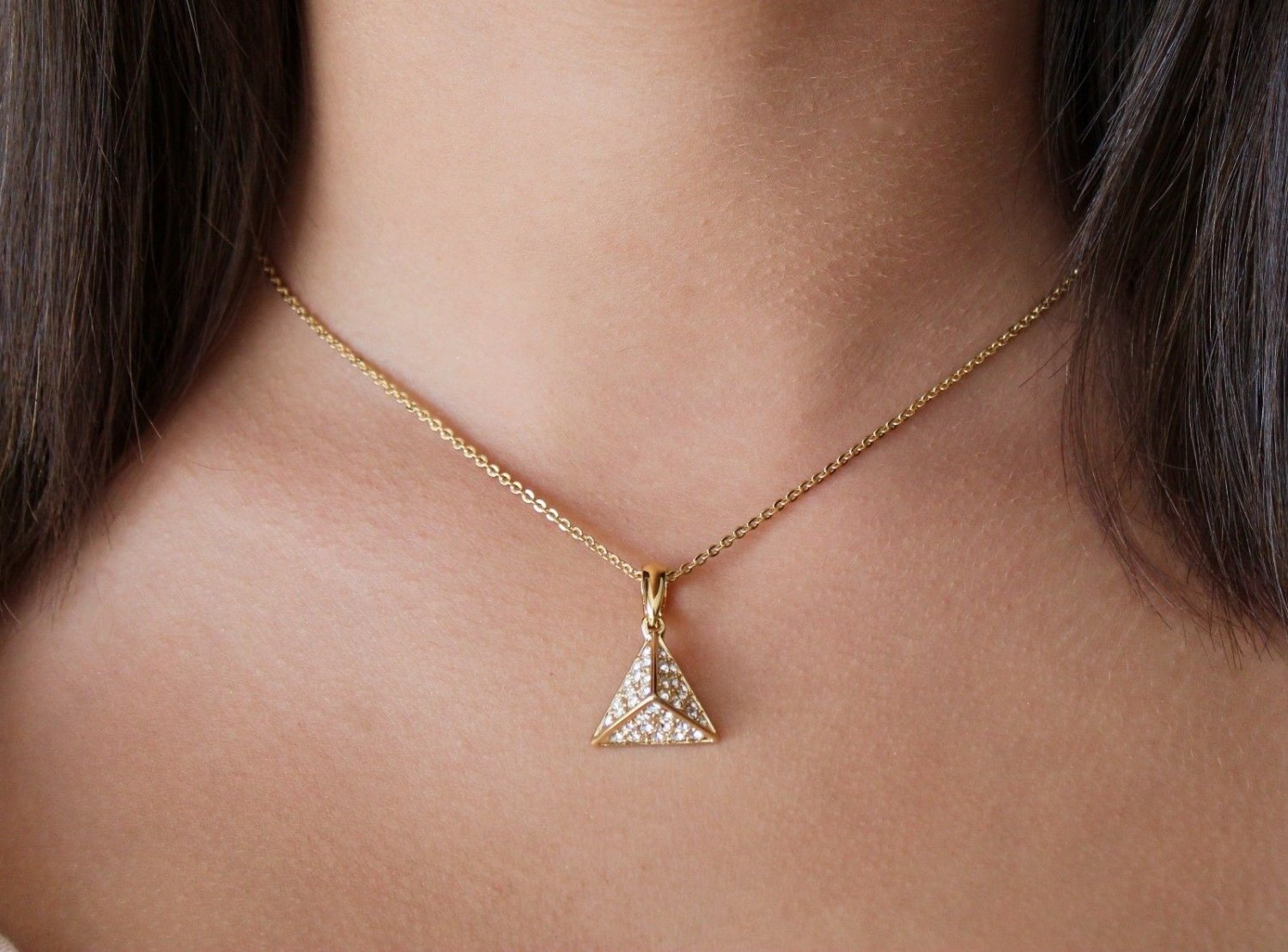 Equal Gold Pyramid Pendant Necklace Swarovski Clear Elements Oliver Weber