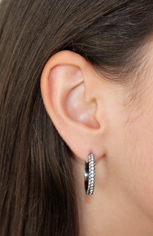 Jet Black Hoops Earrings White Clear Swarovski Elements Oliver Weber