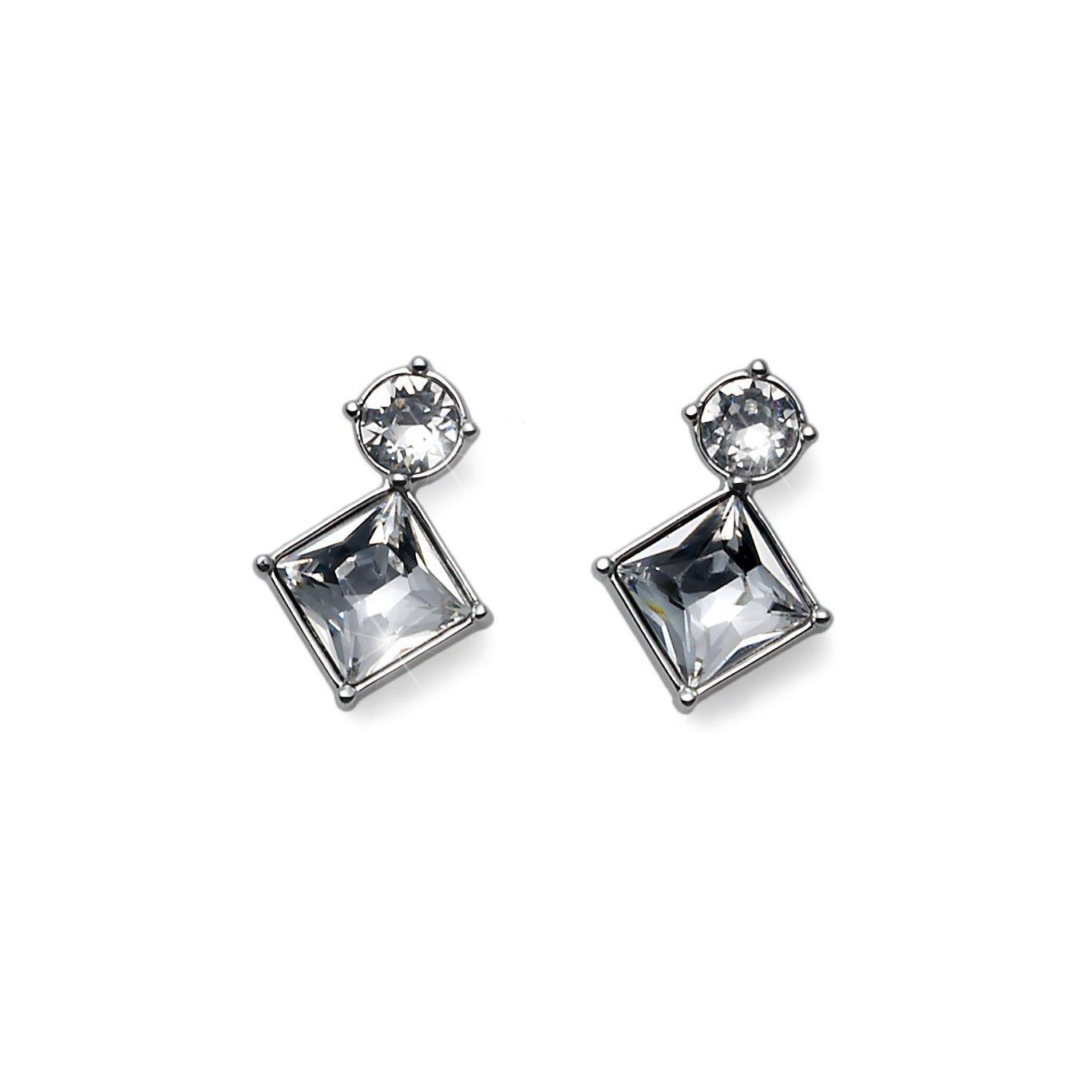 Graceful Stud Earrings Square & Round Clear Swarovski Elements Oliver Weber