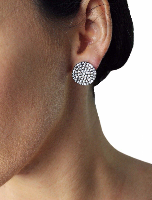 JCM LONDON WHITE GOLD SMALL STUD PIERCED CLEAR ZIRCONS GALAXY EARRINGS