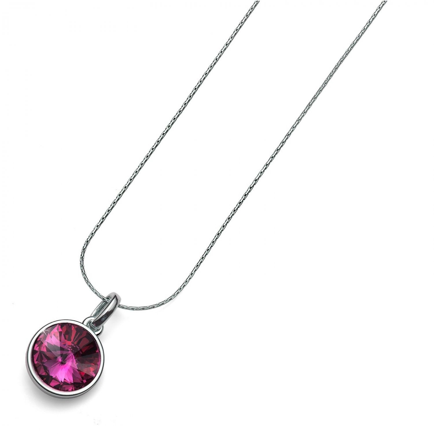 Silver Chain Necklace Fuchsia Swarovski Elements Bezel Pendant Oliver Weber Fun