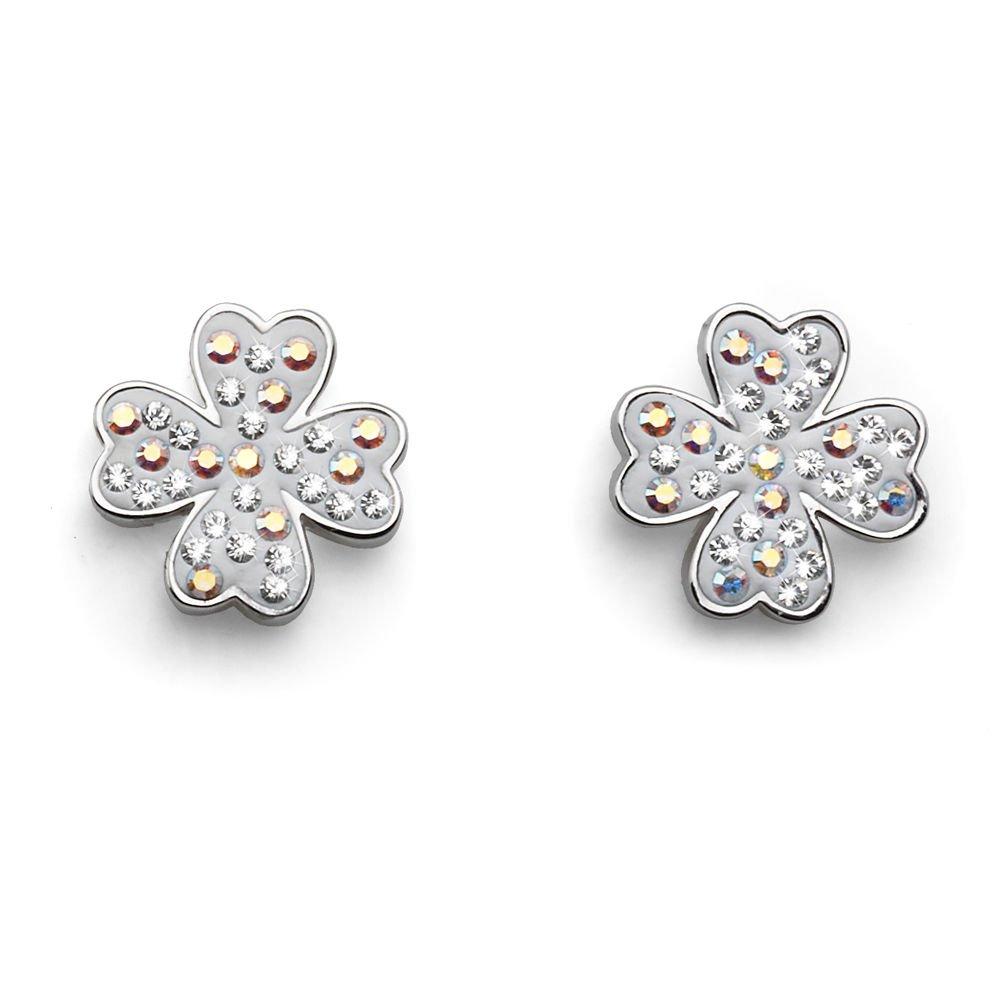 Silver & White Lucky Clover Swarovski Elements Post Earrings Oliver Weber