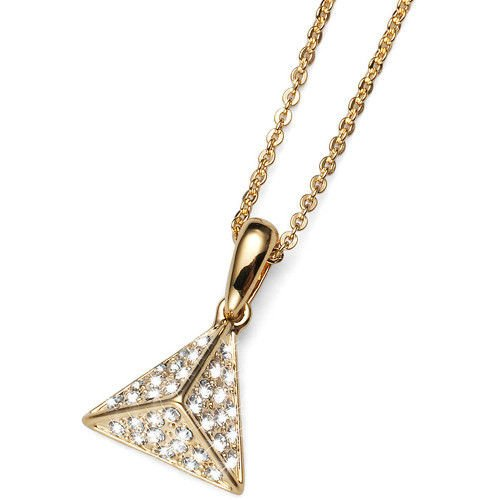 Equal Gold Pyramid Pendat Neacklace Swarovski Clear Elements Oliver Weber 11491G