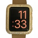 Series 1 & 2 Bling Apple Watch Zirconia Yellow Gold Bezel Face Case Insert
