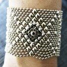 Liquid Metal Silver Mesh Bracelet Black Crystal Sergio Gutierrez RSB10 All SIZES