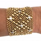 SG Liquid Metal Antique Gold Mesh Cuff Zirconia Bracelet Sergio Gutierrez B10 Z
