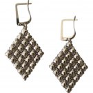 SG LIQUID METAL LARGE DIAMOND PATTERN SILVER MESH EARRINGS SERGIO GUTIERREZ E17