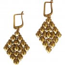 SG Liquid Metal Large Diamond Antique Gold Mesh Earrings by Sergio Gutierrez E15