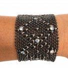 SG Liquid Metal Black Mesh Cuff Bracelet by Sergio Gutierrez B10Z / All SIZES