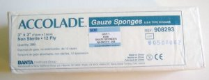 "Package of 200 Accolade Non Sterile 12 ply 3x3"" Gauze Sponges"
