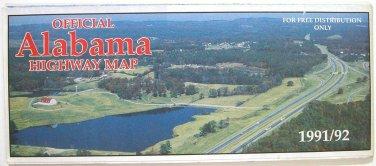 Alabama Official State Map 1991/92 (State of Alabama)