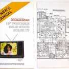 "Owner's Manual with Schematic for Goldstar 19"" Portable Solid State Color TV"