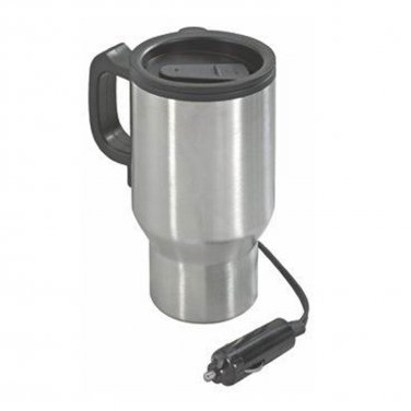NexxTech Stainless Steel Heated 14oz Travel Mug Plugs into 12V (631-8375)